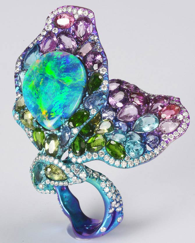 Lee Jewellery opal butterfly ring