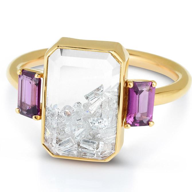 Moritz Glik garnet and sapphire shaker ring