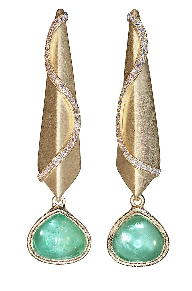 Sandra Dixon Muzo emerald snake earrings