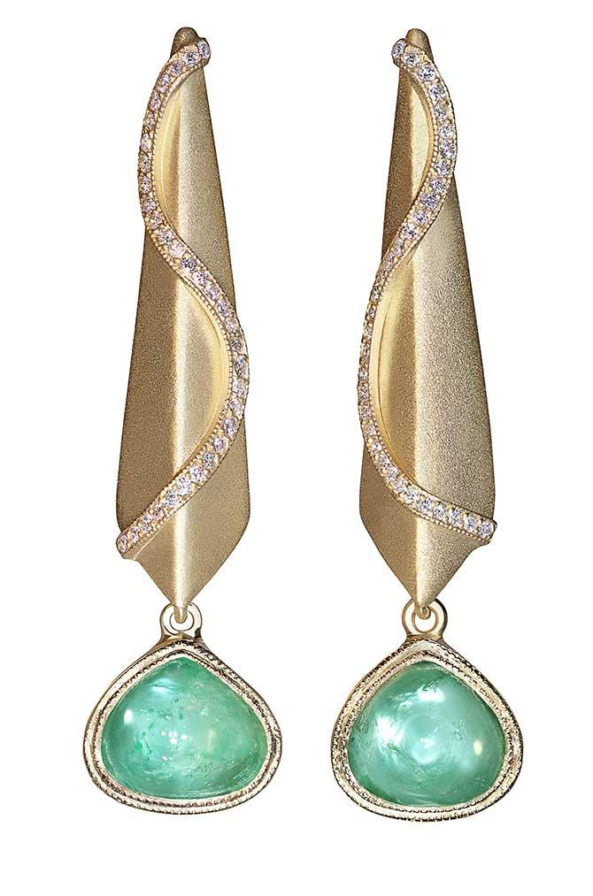 Sandra Dixon Muzo emerald snake earrings