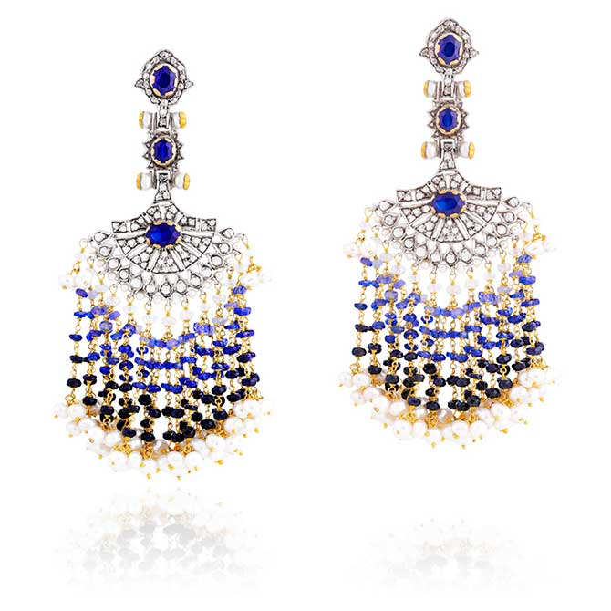 Sanjay Kasliwal Gem palace fan earrings