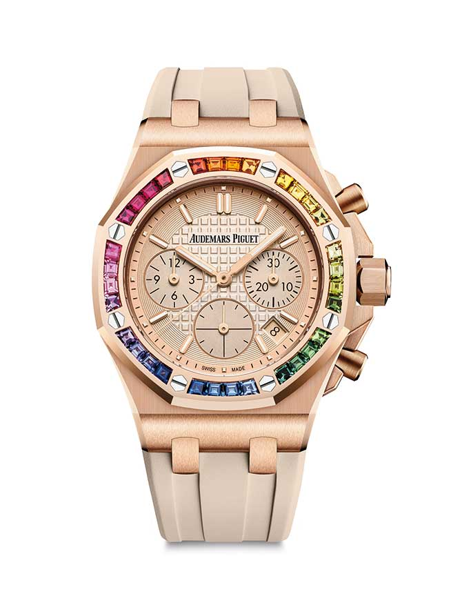 Audemars Piguet rainbow sapphire and gold watch