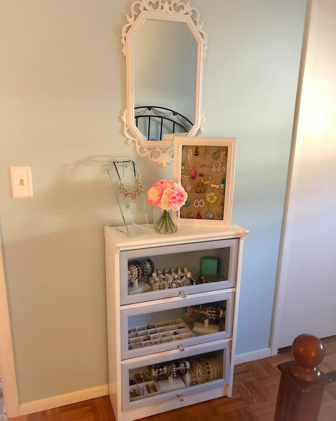 Bookcase upcycled as jewelry armoire