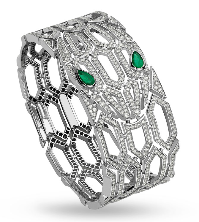 Bulgari serpenti emerald diamond bracelet