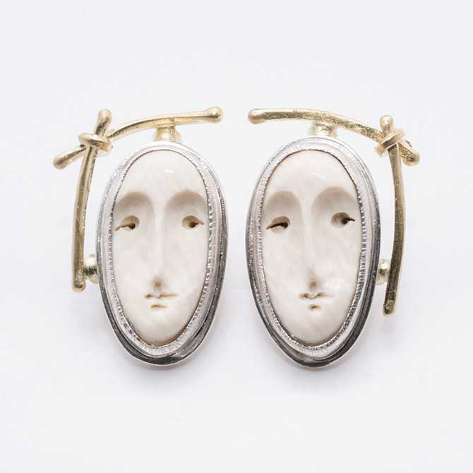 Carolyn Morris Bach Face earrings Smithklein Gallery