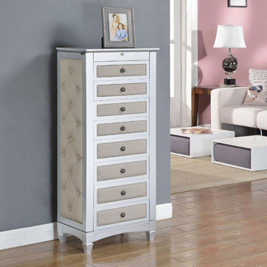 Chelsea upholstered jewelry armoire