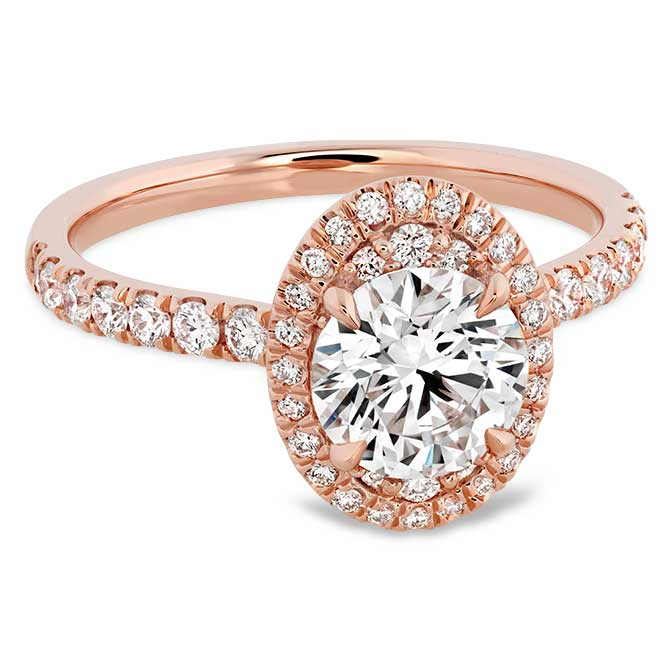 Hearts On Fire rose gold oval engagement ring