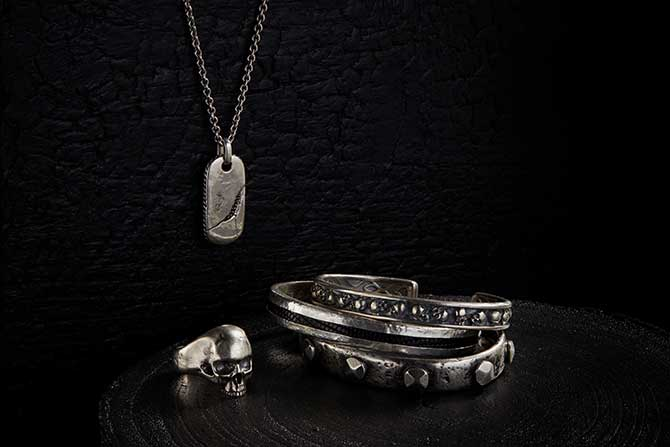 John Varvatos cuffs necklace and ring