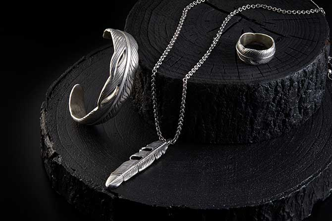 John Varvatos silver feather jewelry