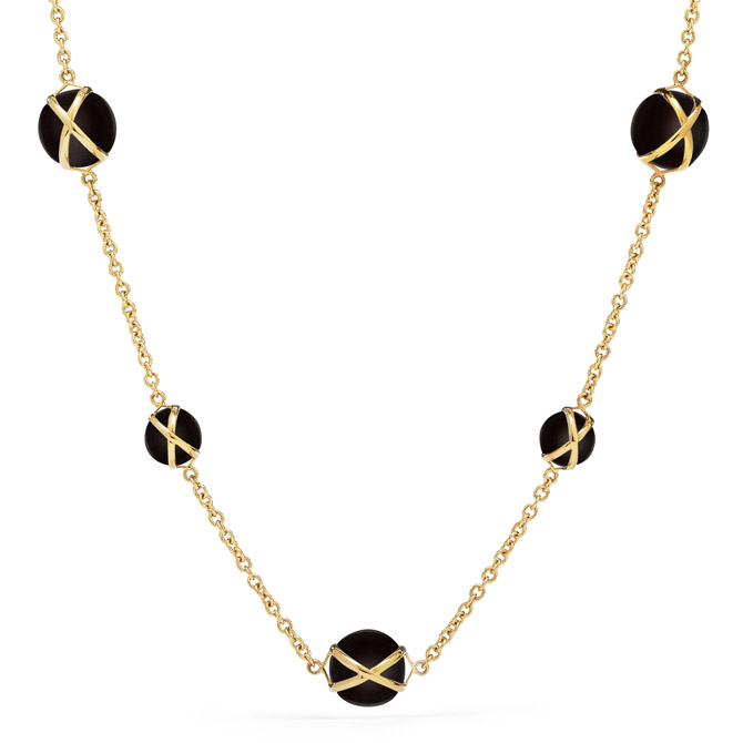 L Klein Prism black agate necklace