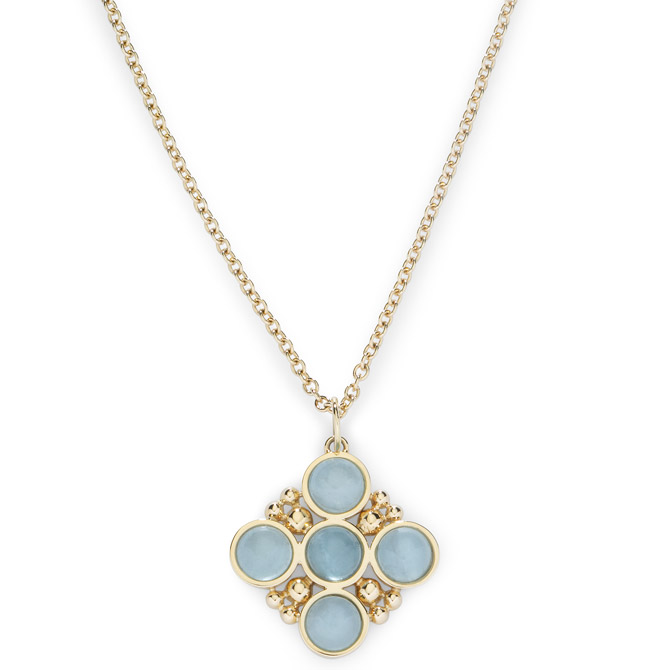 L Klein aquamarine Bubbles necklace