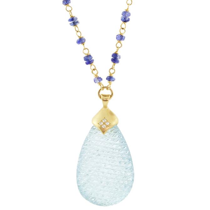 Adel Chefridi carved aquamarine pendant