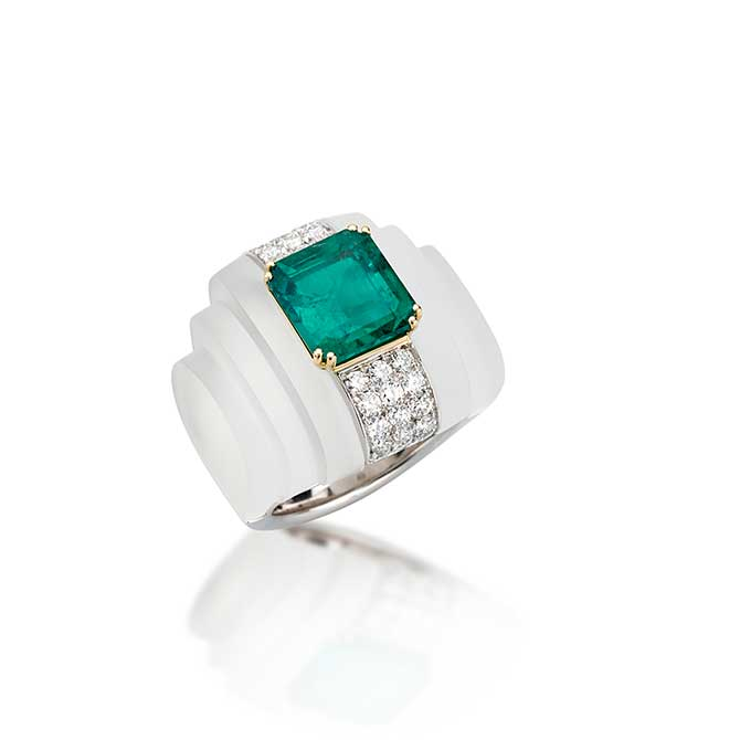 Picchiotti rock crystal emerald ring