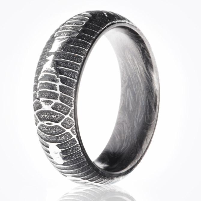 Carbon6 Damascus python ring