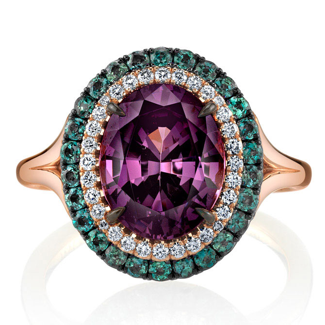 Omi Prive spinel and diamond ring