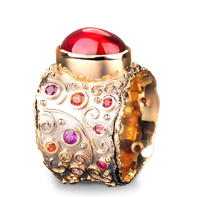Margisa fire opal Talisman ring