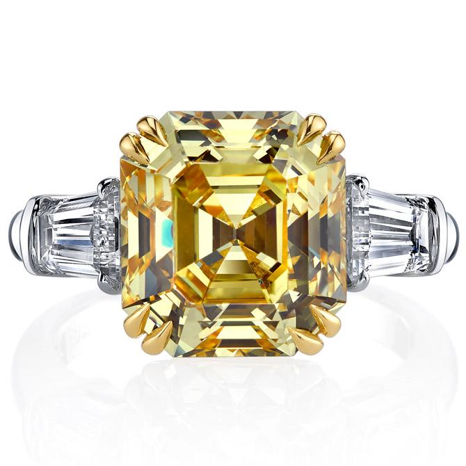 Joshua J Asscher cut diamond ring
