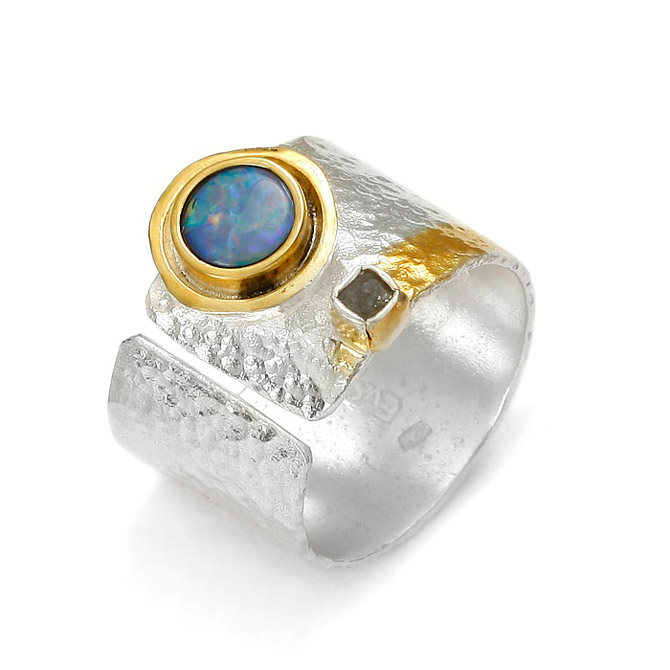 Eva Stone opal and diamond ring