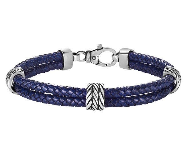 Royal Chain men's blue leather bracelet