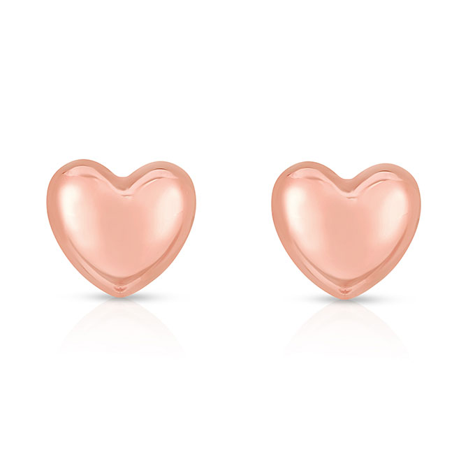 Royal Chain rose gold heart studs