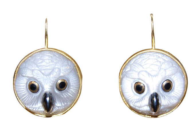 Whitney Abrams owl face earrings