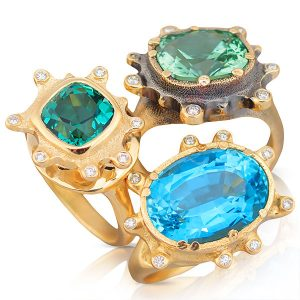 audrius krulis tourmaline aquamarine rings