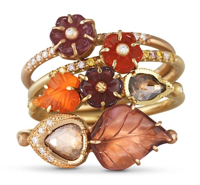 brooke gregson tourmaline fire opal rings