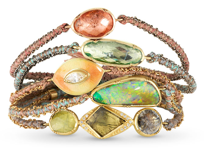 brooke gregson woven gemstone silk bracelets