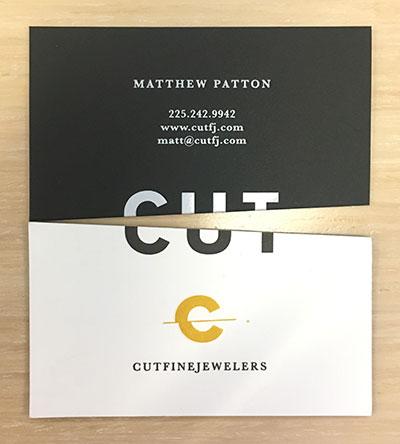 cut fine jewelers business card