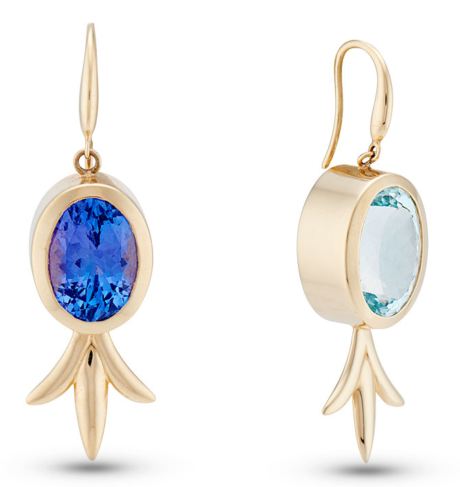 marlo laz tanzanite aquamarine earrings