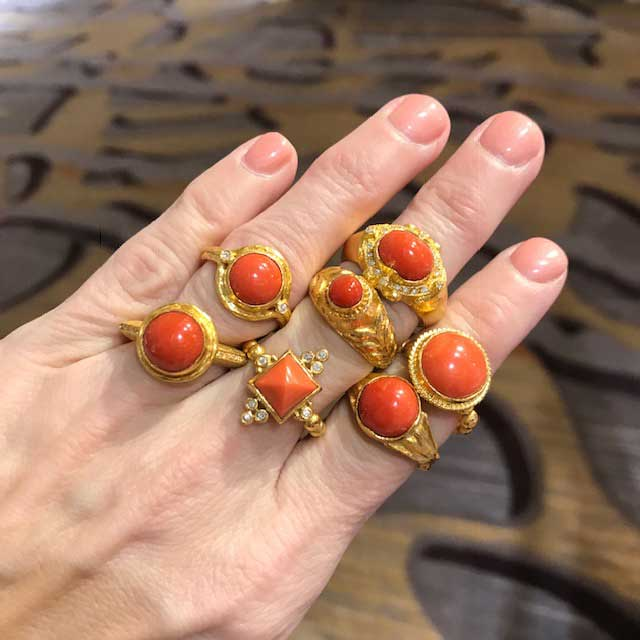 Cetinol 24k coral rings