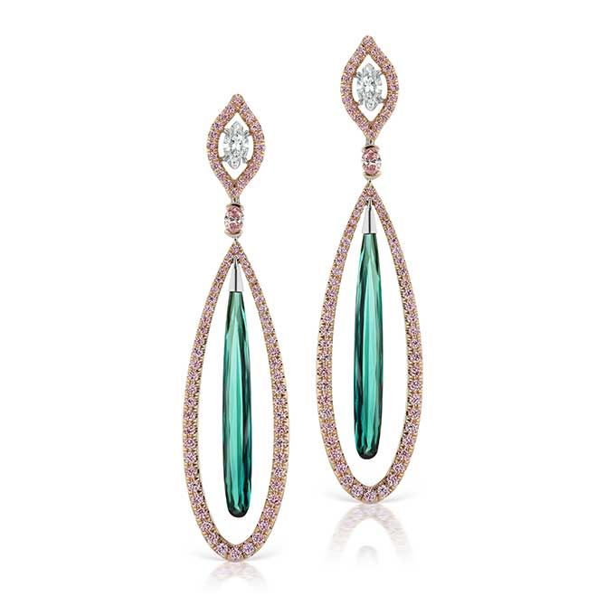 JFine Argyle diamond blue tourmaline earrings