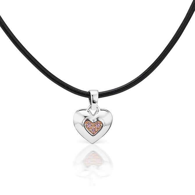 JFine Argyle diamond heart pendant