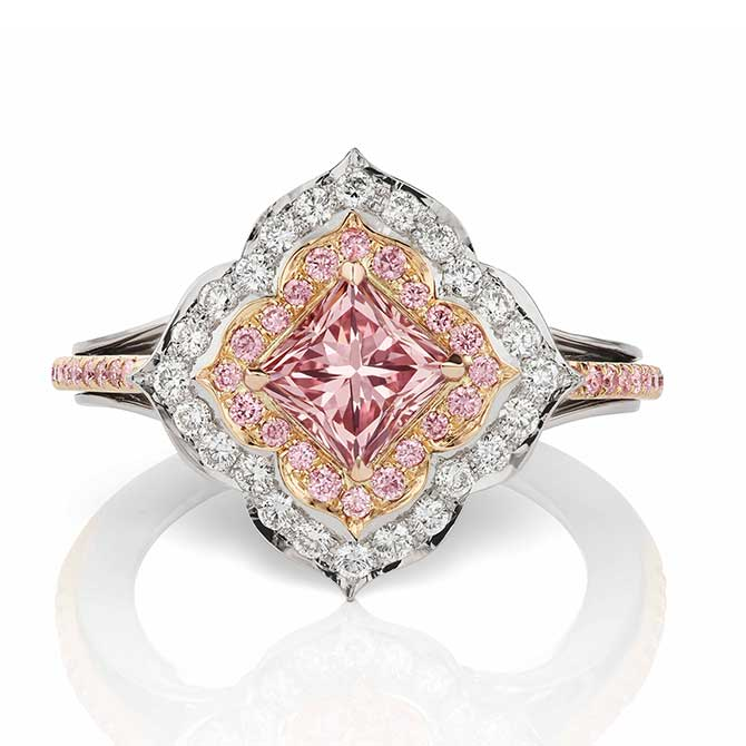 JFine Argyle intense pink radiant cut diamond ring