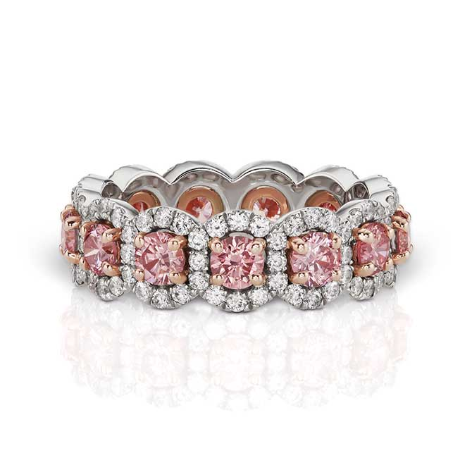 JFine Argyle pink and white diamond band
