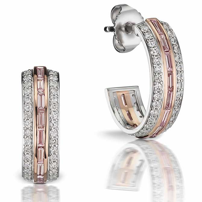 JFine Argyle pink diamond hoops