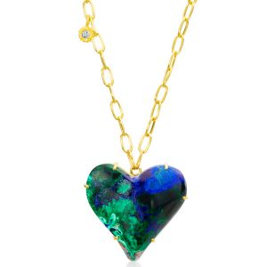 Lauren K azurite heart necklace
