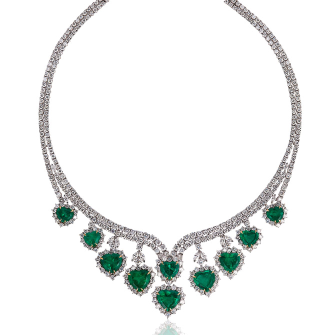 Andreoli emerald hearts necklace