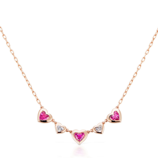 Jane Taylor Cirque five heart necklace