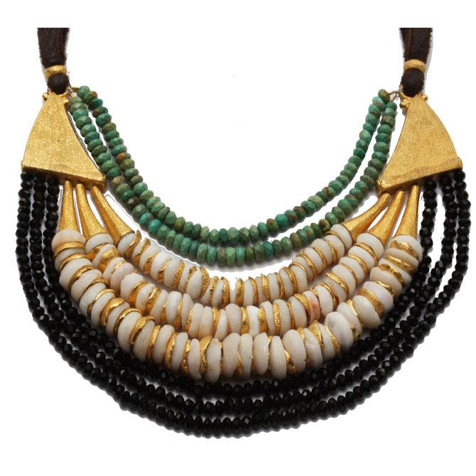 Vanessa Montiel Golden puka necklace