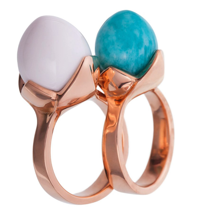 Samsares Flower Bud amazonite and opal rings