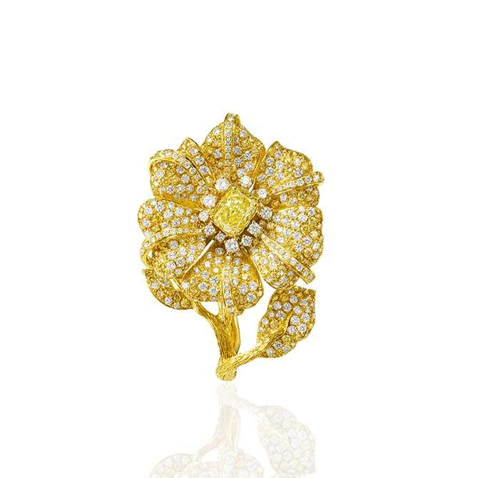 Anna Hu Duchess Hibiscus ring in yellow diamonds