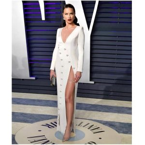 Adriana Lima in Chopard diamond necklace on leg
