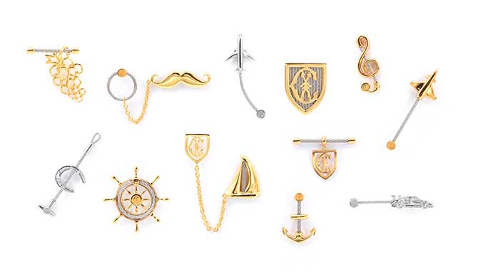 Charriol lapel pins and brooches