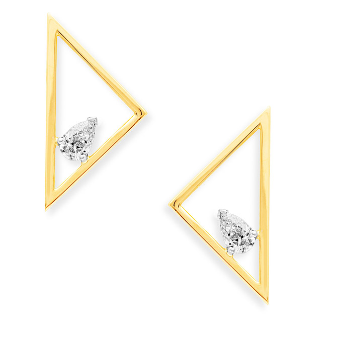 Swati Dhanak Floating Pear triangle earrings