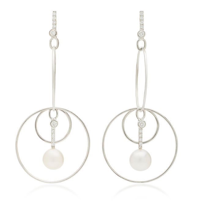 Katey Walker drop hoop pearl earrings