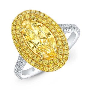 Rahamninov double halo moval yellow diamond ring