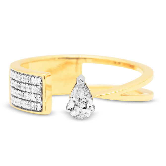Swati Dhanak Floating pear diamond ring