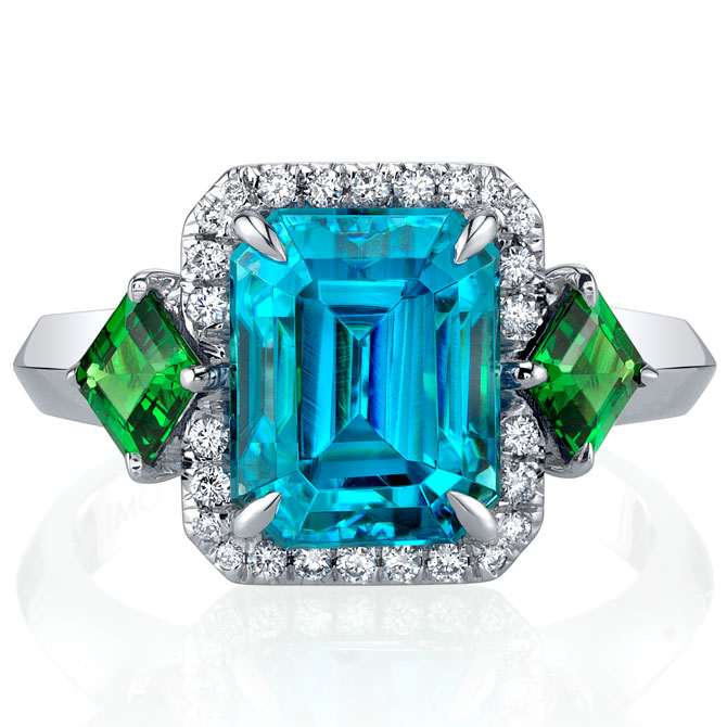 Omi Prive zircon and tsavorite ring