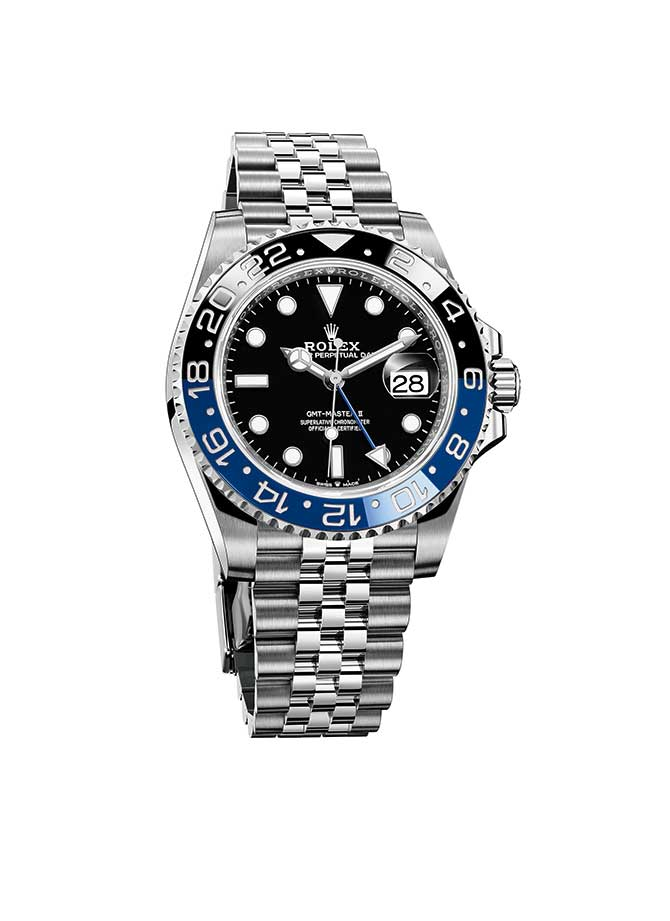 Rolex GMT Master II with blue and black Cerachrom insert on Jubilee bracelet
